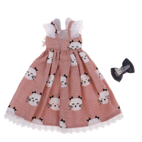 Lovely Pink Kitty Design Long Skirt and Hairpin for 1//6 Blythe Doll Dress Up