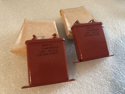 2uF 630V  MBGO-2 Qty2 МБГО-2 USSR Military Paper in OIL PIO Audio Capacitors NOS