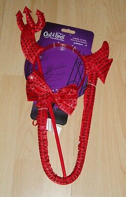 Sincero Devil Dress Up Accessorio Set 4pc-costume Adulto-rosso-lanciare Un Incantesimo-nuova Con Etichetta-mostra Il Titolo Originale Gli Ordini Sono Benvenuti