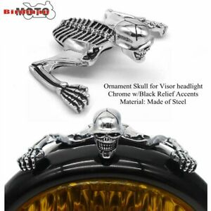 For-Harley-7-in-Headlight-Visor-Skeleton-Accent-Skull-Headlight-Ornament-Chrome