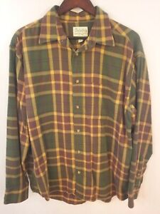 Cabela-039-s-Shirt-Mens-Large-Flannel-Plaid-Long-Sleeve-Green-Red-Yellow-Hunting