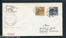 Ned.Indie, 1935 Java-China-Japan Lijn envelop JCJL Stoomschip TJIBADAK > USA