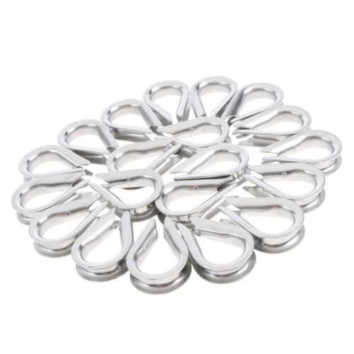 20 PCS 5mm Diameter Wire Rope Cable Thimbles Rigging 304 Stainless Steel