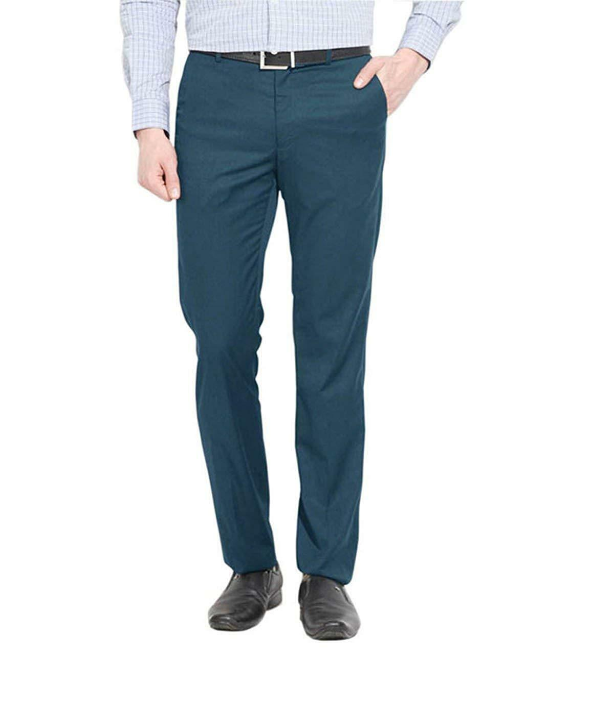 Men'S Pleat-Front Pants Formal Fit Full Length Stretch Office Wedding Trousers