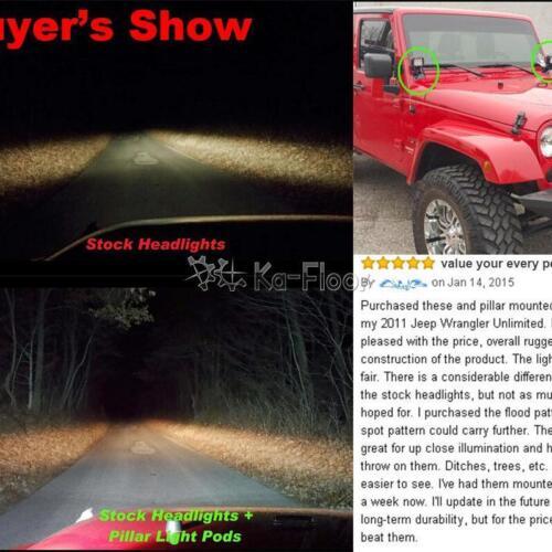 2x 4inch 18W CREE LED Work Light Flood Mount Bracket For Jeep Wrangler JK 07-17