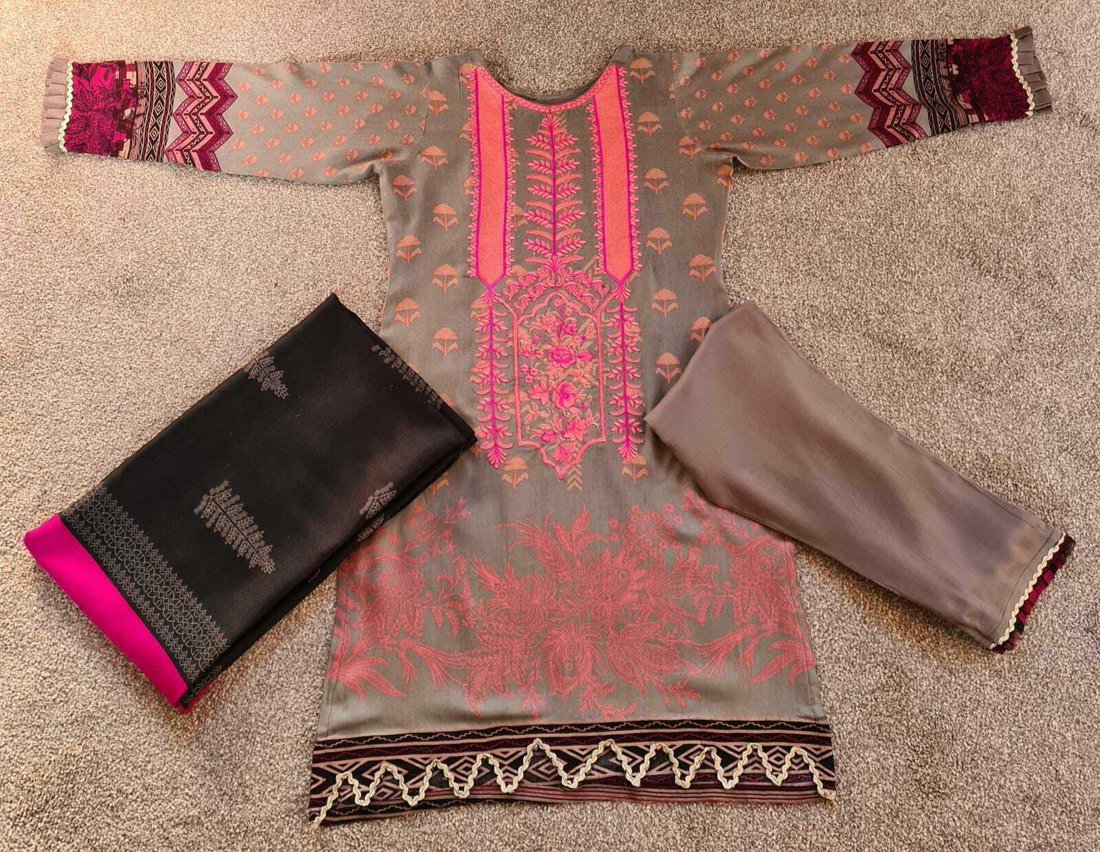 Grey New Pakistani Indian Salwar Kameez Ladies Stitched suit 3 PC Gift