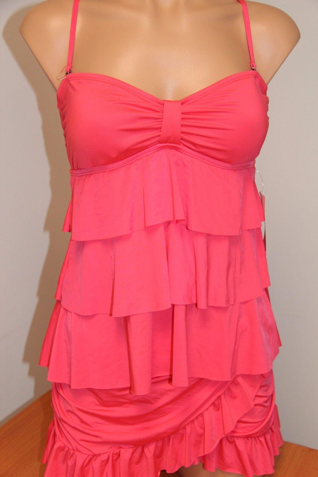 NWT Kenneth Cole Reaction Swimsuit Tankini 2pc Set Sz M Skirt Ruffle BCR Strap