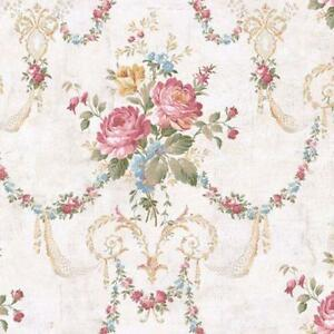 Wallpaper-Victorian-Floral-Bouquet-Swag-Multi-Colors-on-White-Crackle-Background