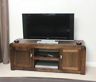 Shiro solid walnut dark wood furniture widescreen television cabinet stand unit