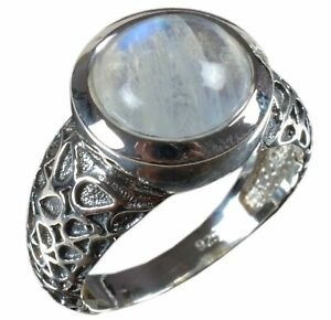 Handmade-925-Solid-Sterling-Silver-Ring-Natural-Rainbow-Moonstone-Size-7-R3051