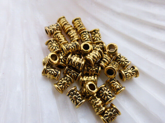 25 x Flower Tube Column Spacer Beads 6.5mm x 5mm Antique Gold, LF NF   (MBX0082)