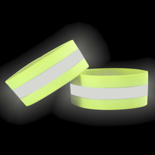 2Pcs Night Glowing Sport Running Safety Arm-Band Belt Reflective Wristband Strap