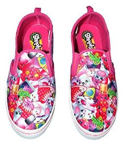 Shopkins Canvas Girl's Pink Canvas Slip On Shopkins Shoes, Youth US Size 1 New