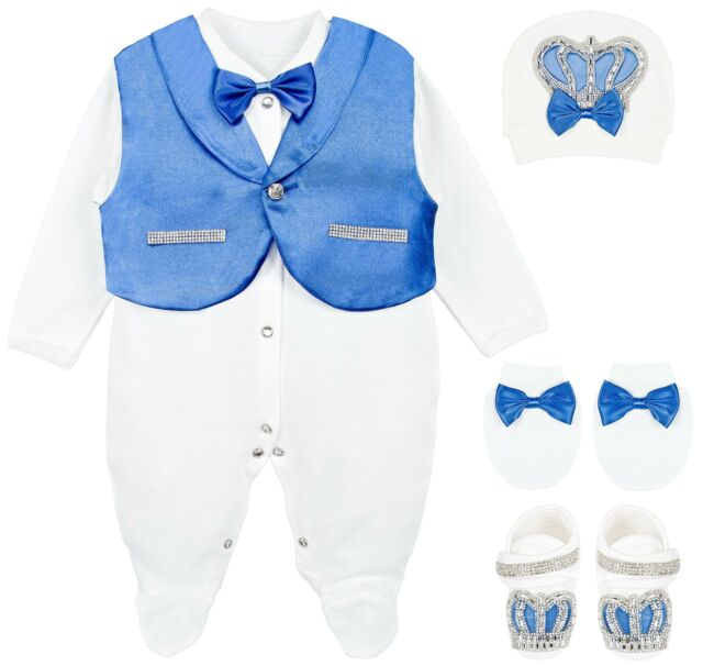Lilax Baby Boy Jewels Crown Tuxedo Outfit Layette 5 Piece Gift Set 0-3M Blue