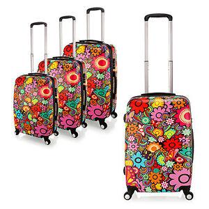 Lightweight 4Wheel PC Hard Shell Luggage Flower Design Suitcase ...