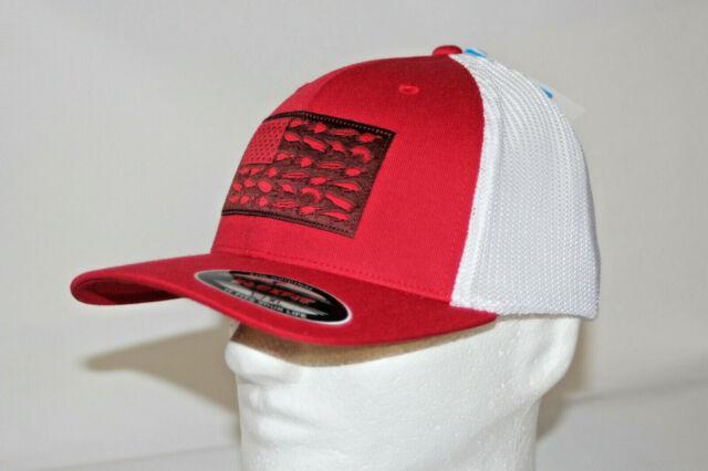 Columbia Mesh Flexfit Trucker Hat Fishing Lure USA Flag Red White L/xl Pfg