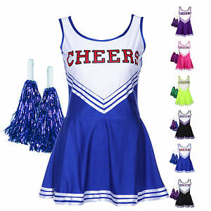 Robe-Debardeur-Deguisement-PomPom-Girl-Uniforme-Cheerleader-XS-XL-Oversize-Femme