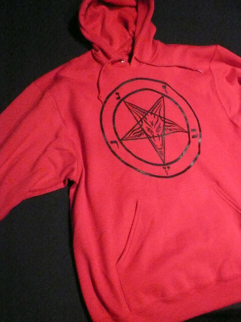 PENTAGRAM Red Pullover Hoodie Occult Evil Satan satanic Horror L + XL Free Ship