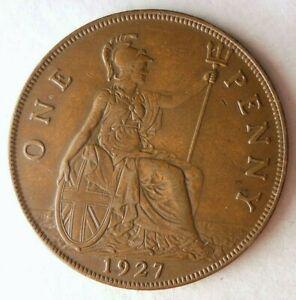 1927-Gran-Bretana-Penny-Alta-Calidad-Moneda-Superior-Vintage-Bin-20