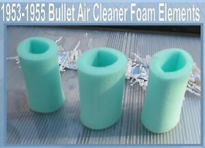 Corvette-1953-1954-Bullet-air-cleaner-foam-element-Foam-Only-Set-of-3