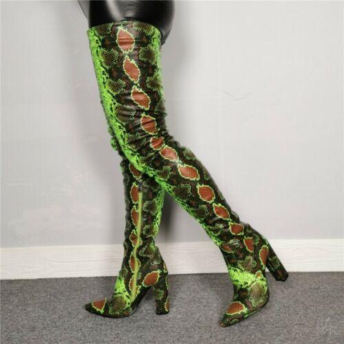Luxury Snakeskin Pattern Block High Heel Poined Overknee Thigh High Boots T Show