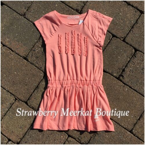 New Girls French Designer Complices Day Dress Peach Navy White Age 2 3 4 5 6 8