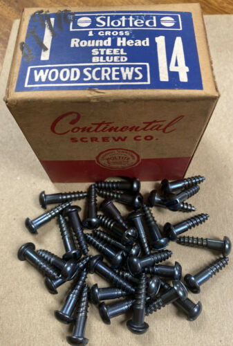 "25 Vintage Lot of 14 X 1"" Slotted Round Head Blued Wood Screws"
