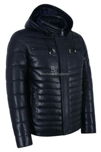 Men/'s Puffer Hooded Leather Sport Jacket Navy 100/% Lambskin Fully Quilted 2006