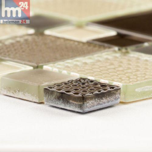 Glasmosaik Lucera Mosaikfliese braun elfenbein beige 29,5x29,5x0,8cm Bad Küche