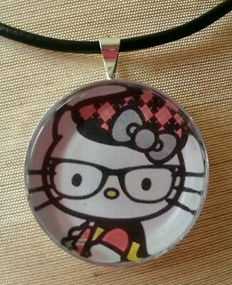 """Hello Kitty /"""" NERDS /"""" Glass pendant with leather necklace!"""