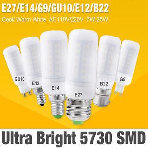 E14 E27 B22 GU10 G9 LED 7/9/20W ampoule maïs 110V 220V SMD 5730 Lustre lumière