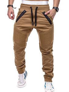 Cintura Pantalones Jogger Pantalones Cordon Bolsillos Con Cremallera Para Hombre Adornado Elastico Ebay