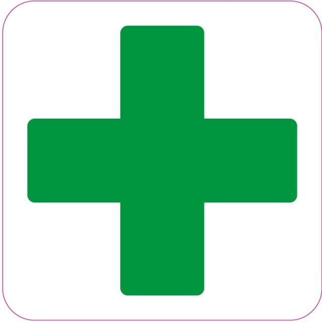 200x200mm First Aid Cross Square Health And Safety Signs Sticker