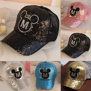 7cee76b902390 Cute Toddler Kids Baby Boys Girls Baseball Cap Sequins Mickey Mouse ...