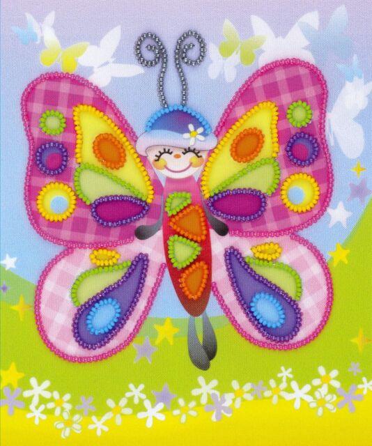 RIOLIS  0061PT  Fairytale Butterfly  Broderie  perlée  sur fond  imprimé