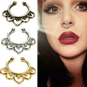 Fad-Fake-Septum-Nose-Rings-Faux-Piercing-Nose-Hoop-Nose-Studs-Body-JewelryWW