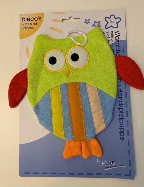 Bieco Waschhandschuh Handspielpuppe Eule Baby Handschuh waschen 04-004517 grün