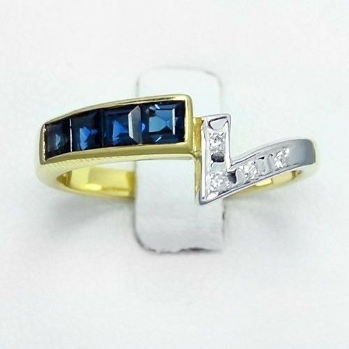 0.60 Carat t.w Natural Royal blueee Sapphire Ring With 4pcs Diamond 14K Solid gold