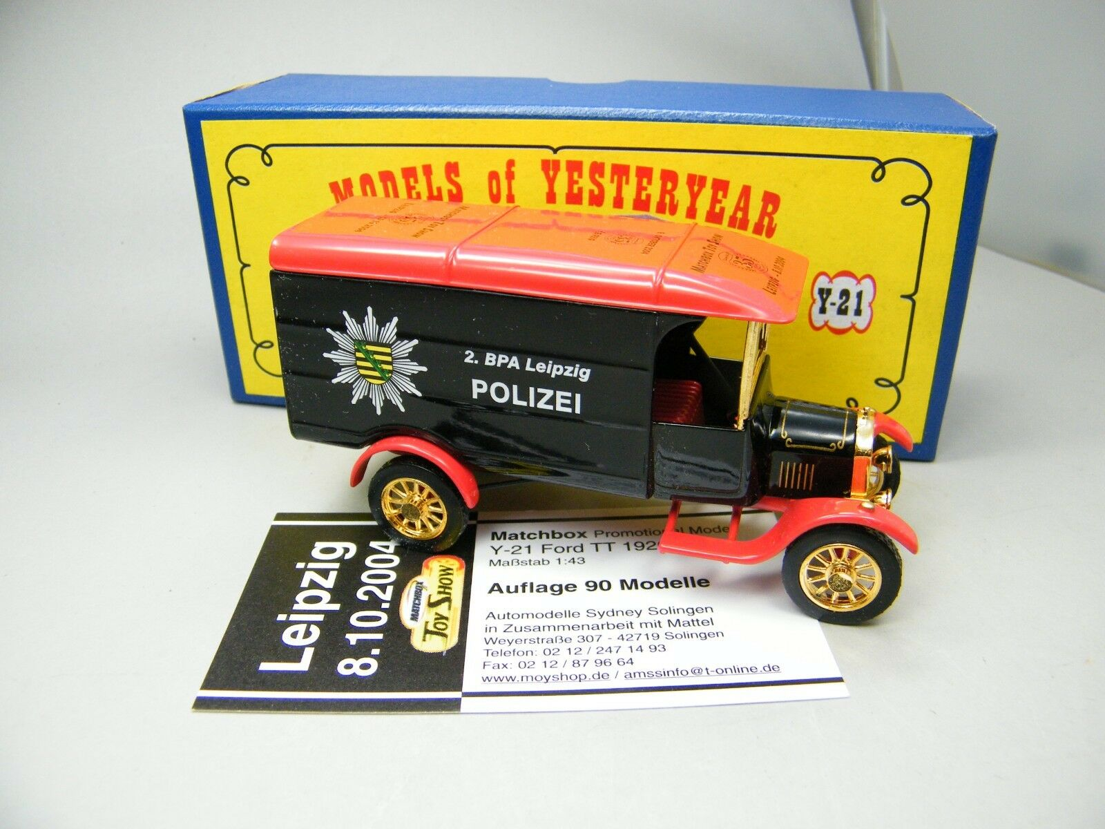 Matchbox MOY c2 y-21 Ford TT Print Pattern Leipzig Single Piece Very Rare Boxed k04