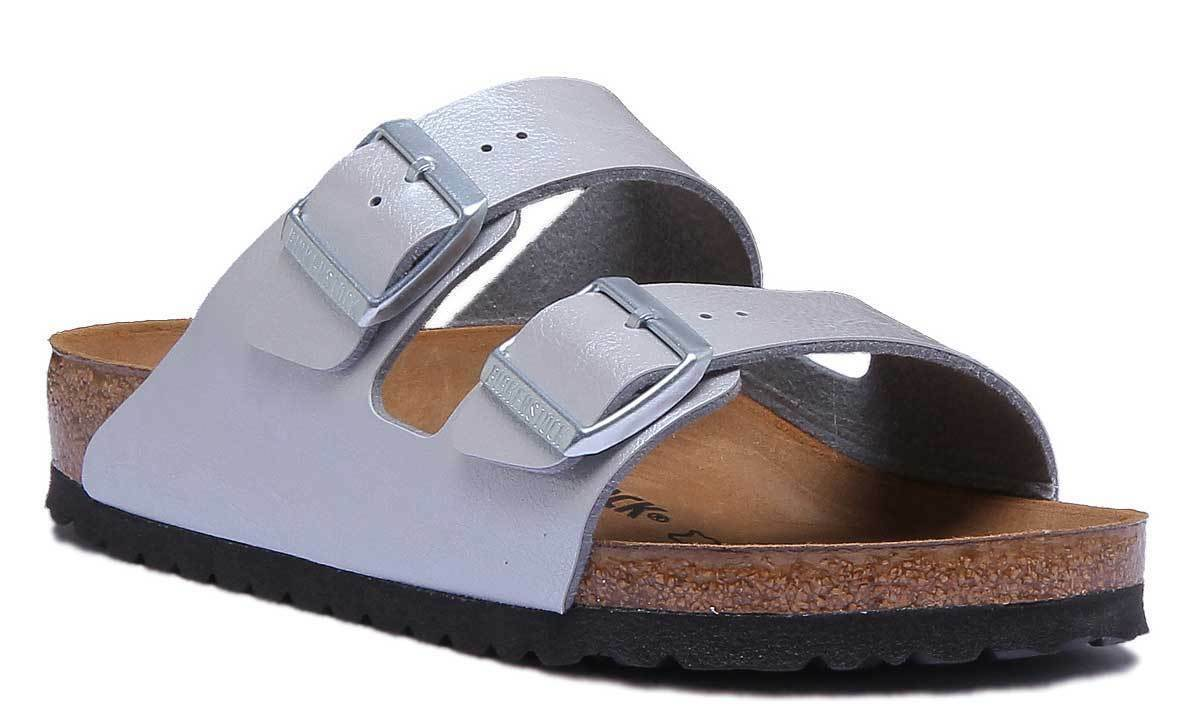 Birkenstock Arizona BS Birko Flor Damens Synthetic Silver Slide Sandale Größe 3 -