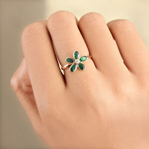 Solid-18k-Yellow-Gold-1-18Ct-Emerald-Gemstone-Floral-Shaped-Diamond-Ring-Jewelry