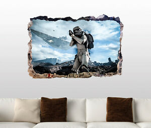 Star Wars Stormtrooper Smashed 3d Wall Decal Galaxy Sticker Vinyl