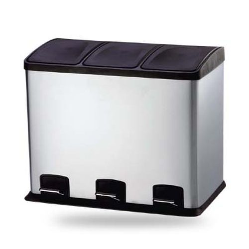 36 Liter 3 Fach Treteimer, Abfalleimer, Mülleimer Mülltrennung   Kombi 3 Kammer