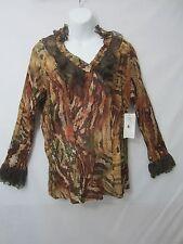 NEW $88 XL Ladies REBA Crinkle Snake Western Blouse Lace Bell Sleeves Top Shirt