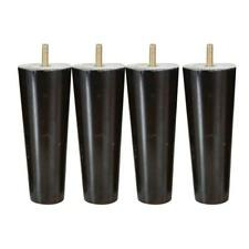 Set Of 4 Wooden Furniture Feet Sofa Settee Chair Leg Black With Chrome Castors
