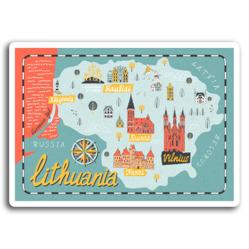 2 x 10cm Lithuania Vilnius Travel Vinyl Stickers Sticker Laptop Luggage #19527