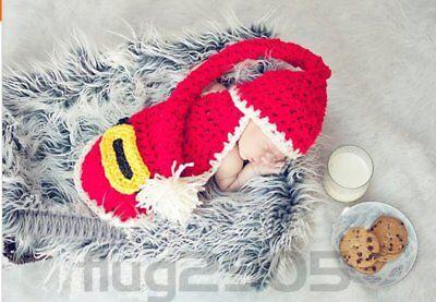Baby Fotografie Fotoshooting Strick Mütze Kostüm Weihnachten Neugeborenen XMAS