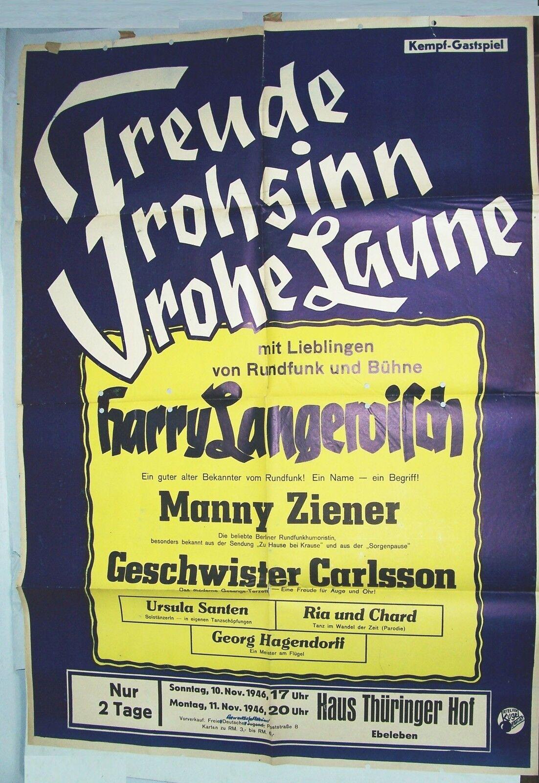 Poster Gastspiel Casa Thüringer Hof Ebeleben 1946 Langewisch Ziener Santen