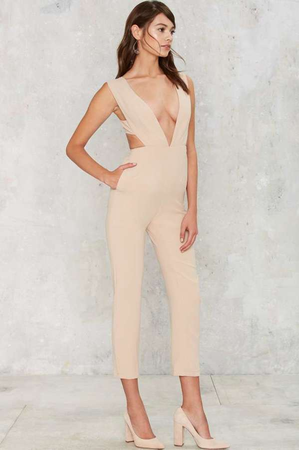 Lioness By Nasty gal Lady in the Streets Plunging Jumpsuit - Beige