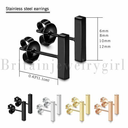 8PCS Flat Bar Stainless Steel Simple Ear Stud Earrings for Women Men 6-12MM Gift